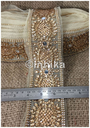 lace trim fabric online saree lace border patterns design with price Beige-Stone-Zari-3-Inch-Wide-3243