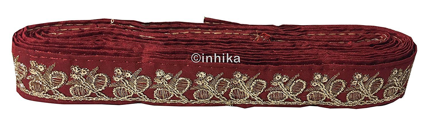 lace trim fabric decorative fabric trim ribbon for clothing Maroon-Embroidery-Sequins-2-Inch-Wide-3282