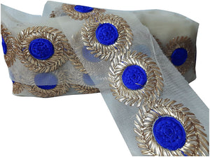 lace trim fabric trims in fashion Royal-Blue-Embroidery-3-Inch-Wide-3316