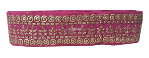 lace trim fabric garment trims and accessories wholesale suppliers Rani-Pink-Embroidery-3-Inch-Wide-3290