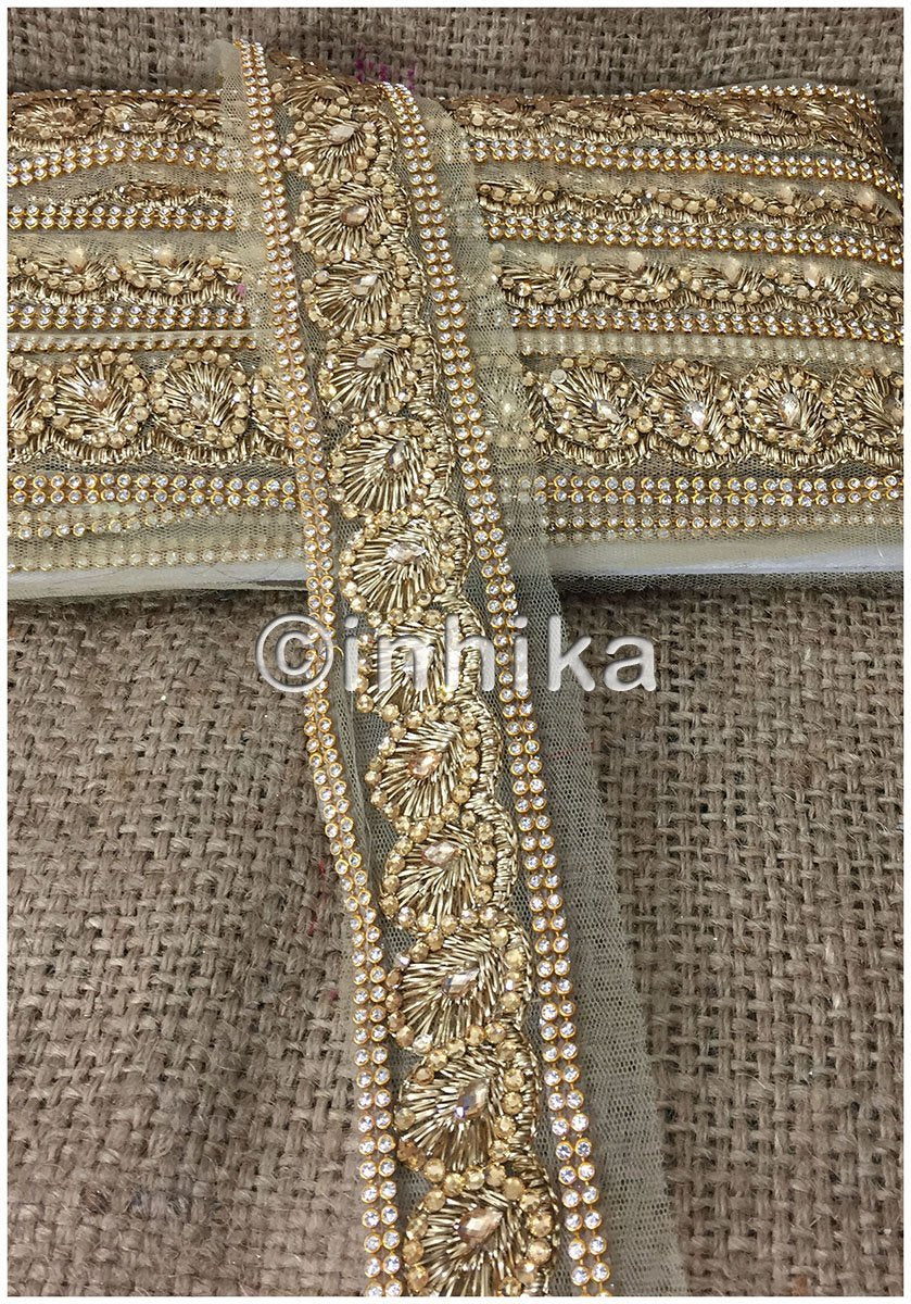 lace trim fabric embroidered lace fabric for wedding dresses india online Beige-Zari-2-Inch-Wide-3235