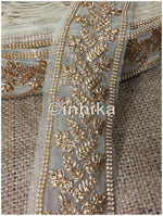 lace trim fabric embroidered lace fabric for wedding dresses india online Beige-Zari-4-Inch-Wide-3241