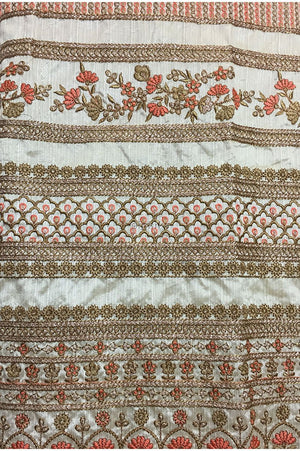 designer fabric online india fabric online india Embroidery Dupion Cream, Gold, Peach, Copper 43 inches Wide 9201