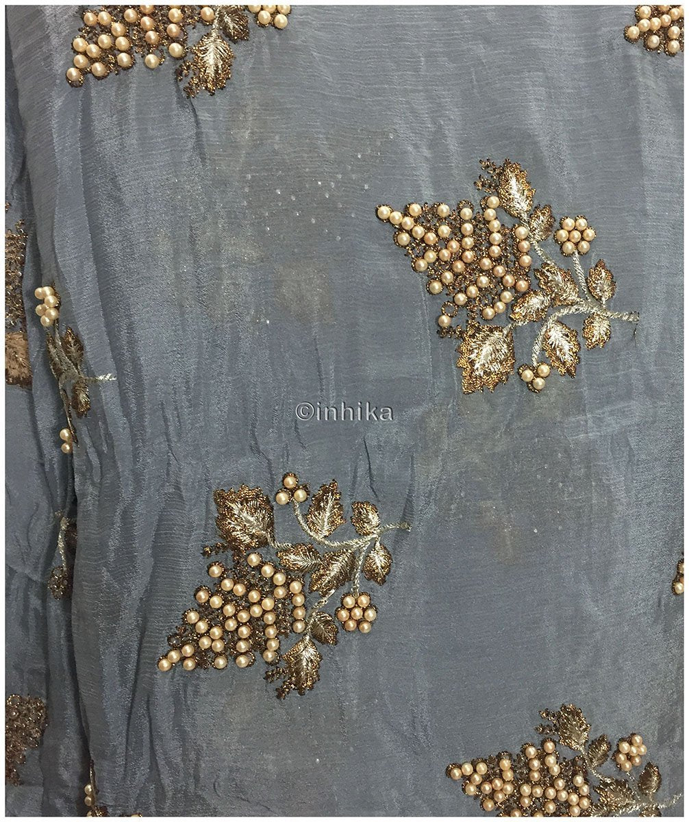 blouse fabric online shopping blouse material online Embroidery Viscose Chinnon Grey 44 inches Wide 9210