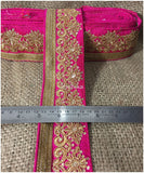 lace trim fabric where to buy fringe for clothing Rani-Pink-Embroidery-Sequins-3-Inch-Wide-3298
