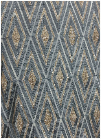 Image of blouse material online embroidery fabric Georgette Off White, Bluish Grey, Gold 46 inches Wide 9193
