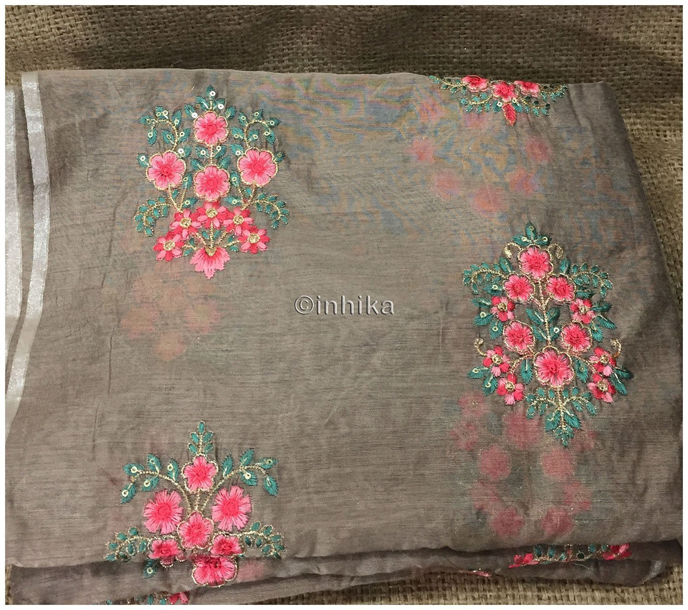 8489886bd4625 cheap fabric online india cheap fabric online india Embroidery Chanderi Silk  Brown