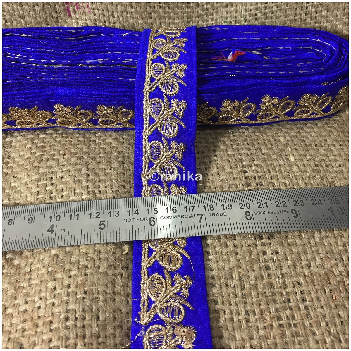 lace trim fabric trims and accessories used in garment industry Royal-Blue-Embroidery-Sequins-2-Inch-Wide-3280