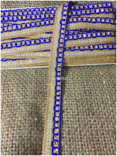 Load image into Gallery viewer, lace trim fabric fancy saree border lace for sale Blue, Embroidery, Stone, 1 Inch Wide material Cotton Mix