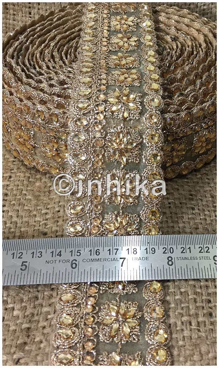 lace trim fabric bridal rhinestone lace appliques wholesale Beige-Embroidery-Sequins-2-Inch-Wide-3248