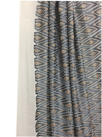 Image of embroidery materials embroidery fabric Georgette Off White, Bluish Grey, Gold 46 inches Wide 9193