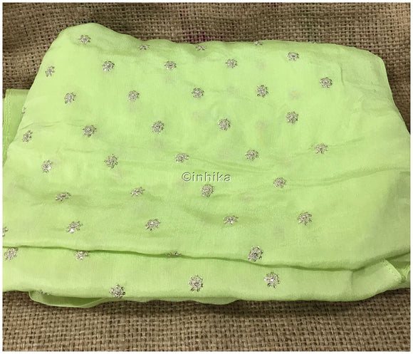 embroidery items online embroidery material online shopping india Crepe Pistacio Green, Silver Sequins 39 inches Wide 9177