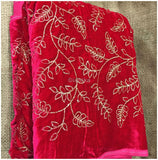 buy blouse material online blouse material online Embroidery Velvet Rani Pink, Fuchia Pink, Gold 44 inches Wide 9194
