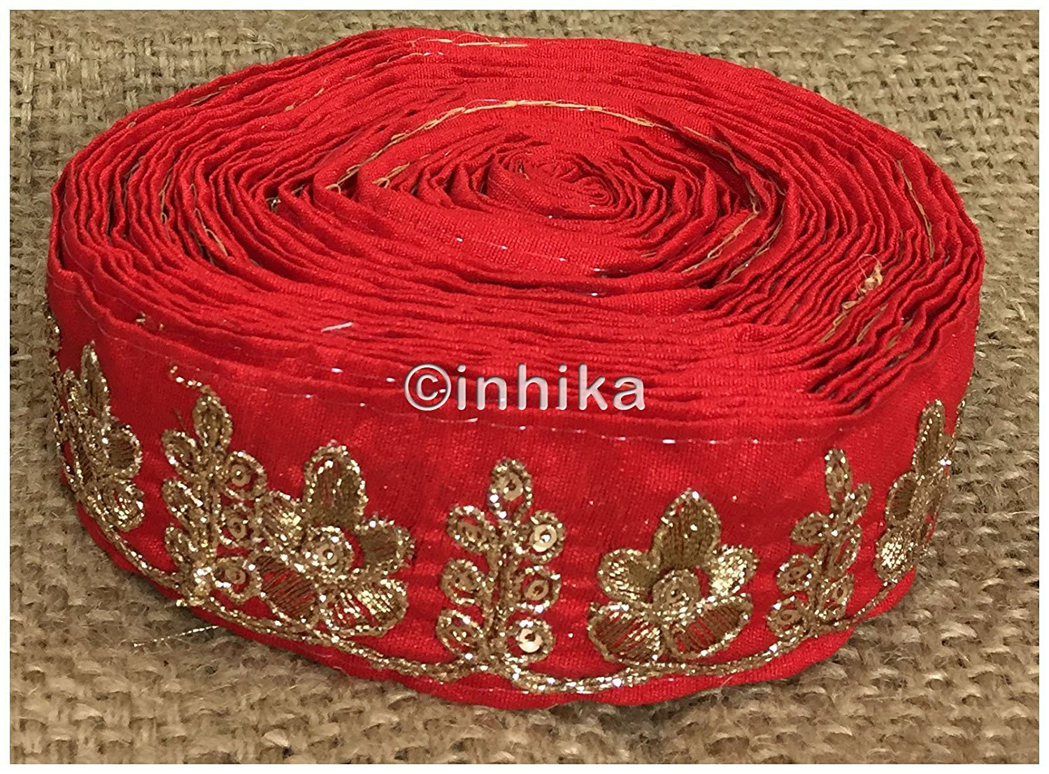 lace trim fabric fancy saree border lace for sale Red, Embroidery, 2 Inch Wide material Cotton Mix, Dupion