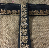 lace trim fabric trims and accessories used in garment industry Black-Embroidery-Sequins-2-Inch-Wide-3284