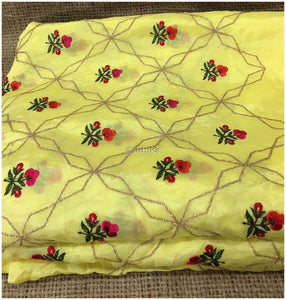 19d891a0f0 indian embroidered fabric white lace fabric online india Embroidery Chiffon  Yellow, Pink, Light Gold