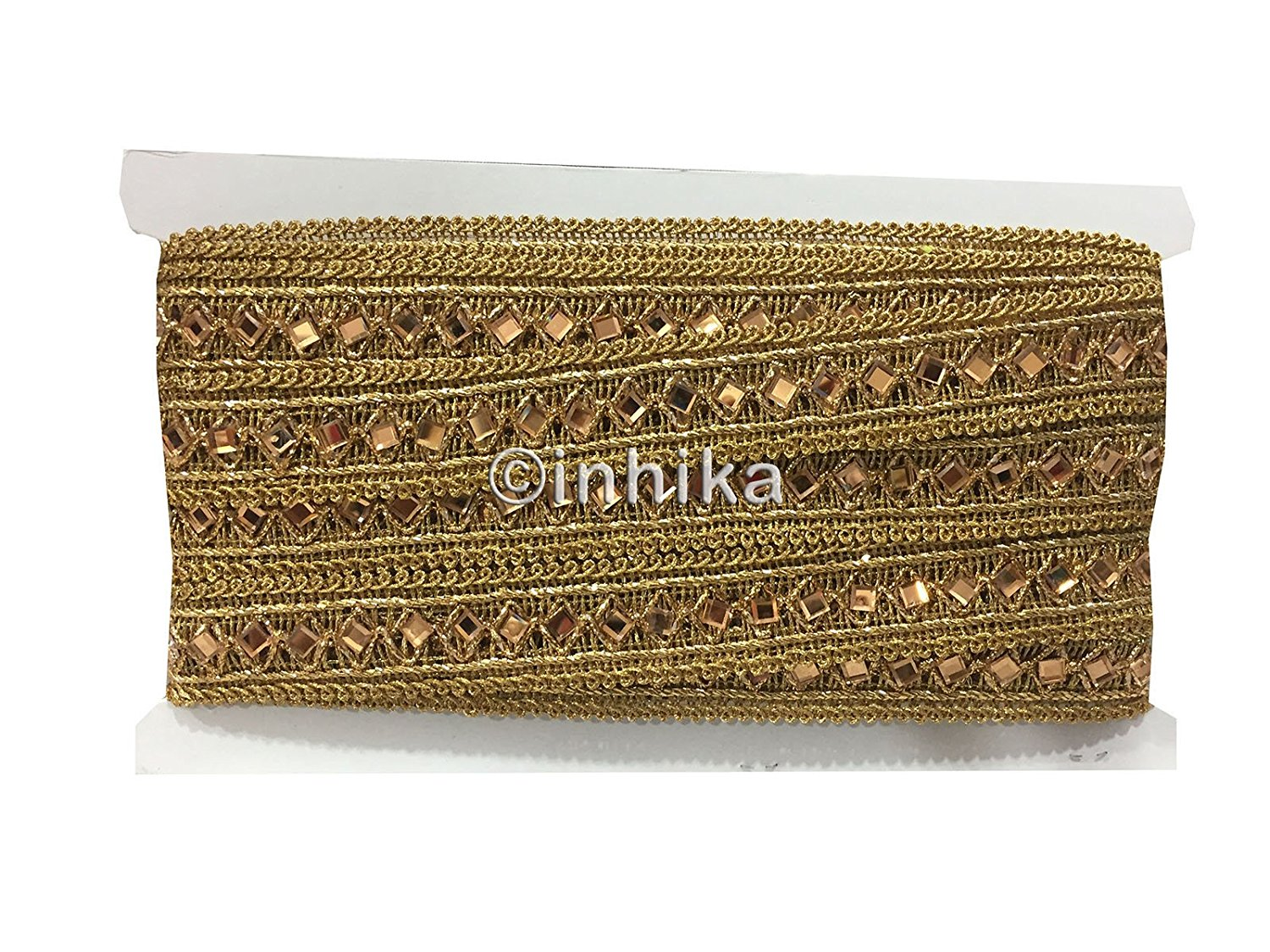 lace trim fabric trims and accessories used in garment industry Gold-Embroidered-Gold-Mirror-2-Inch-Wide-3197
