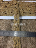lace trim fabric decorative fabric trim ribbon for clothing Gold, Embroidery, 2 Inch Wide material Tissue