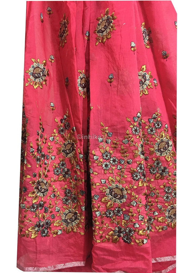 kurta cloth material online buy fabric online india Embroidery, Sequins Cotton Chanderi Pink Peach, Grey, Yellow, Maroon, Gold 42 inches Wide 9202