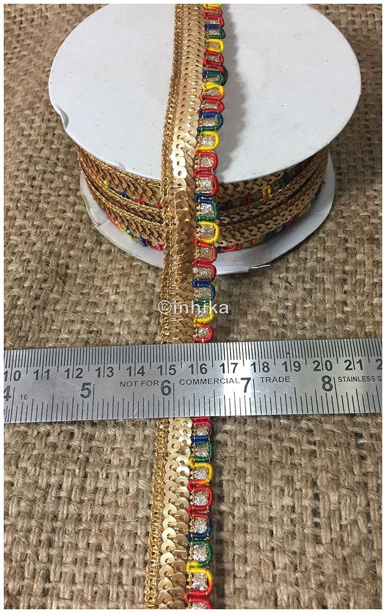 lace trim fabric sequin appliques and trims suppliers Multicolour, Embroidery, Sequins, 1 Inch Wide material Cotton Mix