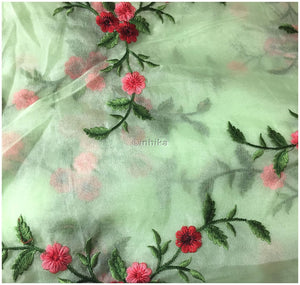 indian embroidered fabric buy kurti fabric online Embroidery Organza / Tissue Green, Pink, Red, Maroon 39 inches Wide 9171