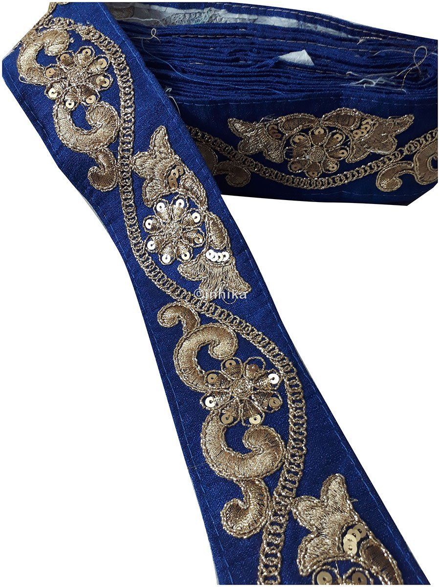 lace trim fabric trims and accessories used in garment industry Royal Blue, Embroidery, Sequins, 3 Inch Wide material Cotton Mix