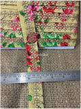 lace trim fabric sewing trims and embellishments for clothing Beige-Embroidered-Sequins-Printed-Base-1-Inch-Wide-3200