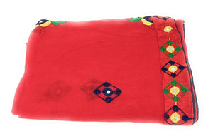 Red Dupatta With Embroidery