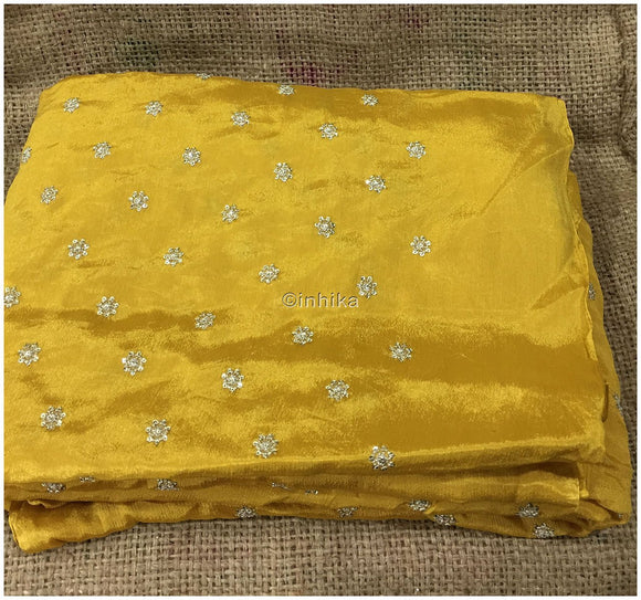 embroidery laces online fabric material online shopping india Embroidery Crepe Mustard yellow, Silver Sequins 39 inches Wide 9175