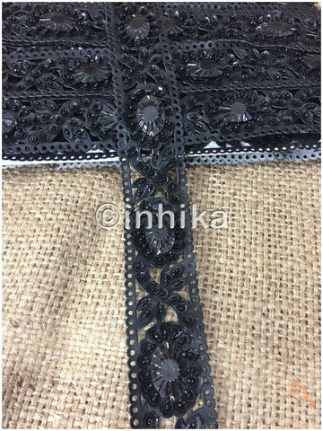 Image of lace trim fabric bridal lace fabric uk wholesale india Black, Stone, Sequins, 2 Inch Wide material Rexin