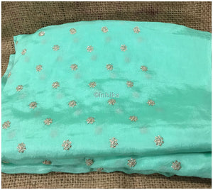 embroidery materials list white cloth material online india Embroidery Crepe Sea Green, Silver Sequins 39 inches Wide 9178
