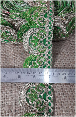 Image of lace trim fabric online saree lace border patterns design with price Green-Embroidery-2-Inch-Wide-3256