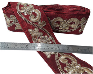 lace trim fabric fringe trim by the yard for clothing  Maroon, Embroidery, Sequins, 3 Inch Wide material Cotton Mix