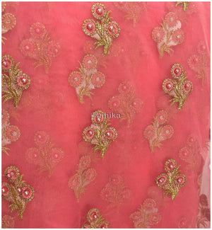 indian embroidered fabric dress material online Embroidery Net, Mesh, Tulle Pink Peach 44 inches Wide 9228