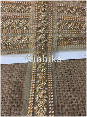lace trim fabric trims and accessories used in garment industry Beige-Zari-2-Inch-Wide-3237