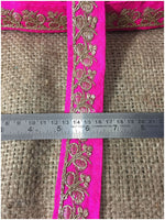 lace trim fabric bridal wedding lace trim by the yard wholesale suppliers Rani-Pink-Embroidery-Sequins-2-Inch-Wide-3285