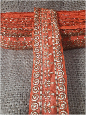 lace trim fabric trims and accessories used in garment industry Orange-Embroidery-3-Inch-Wide-3292