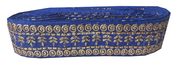 lace trim fabric designer fabric trim for garment wholesale suppliers Royal-Blue-Embroidery-3-Inch-Wide-3289