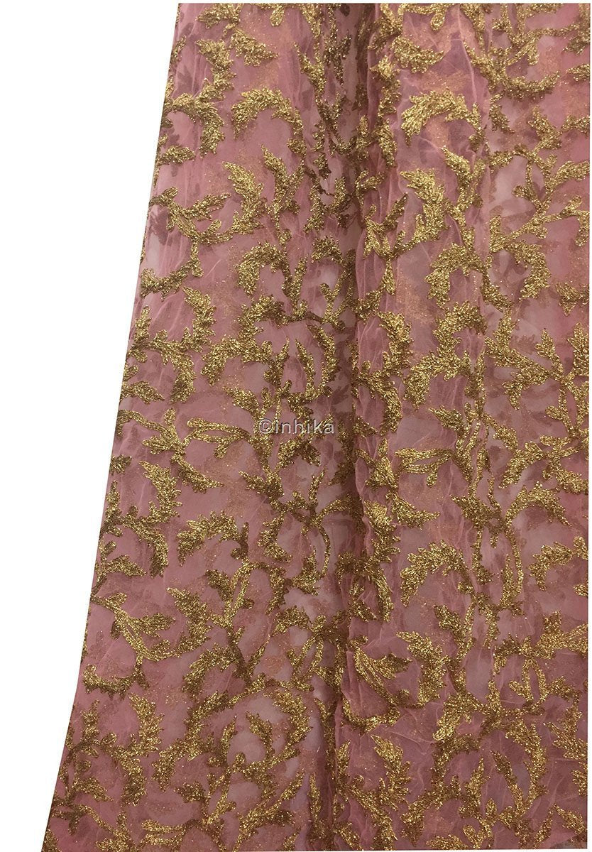 kurti material online shopping fabric online india Embroidery Net, Mesh, Tulle Pink 44 inches Wide 9215