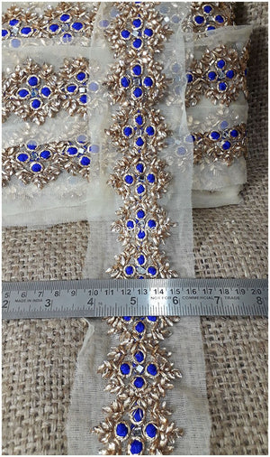 lace trim fabric where to buy lace appliques Blue, Embroidery, 3 Inch Wide material Net, Mesh, Tulle