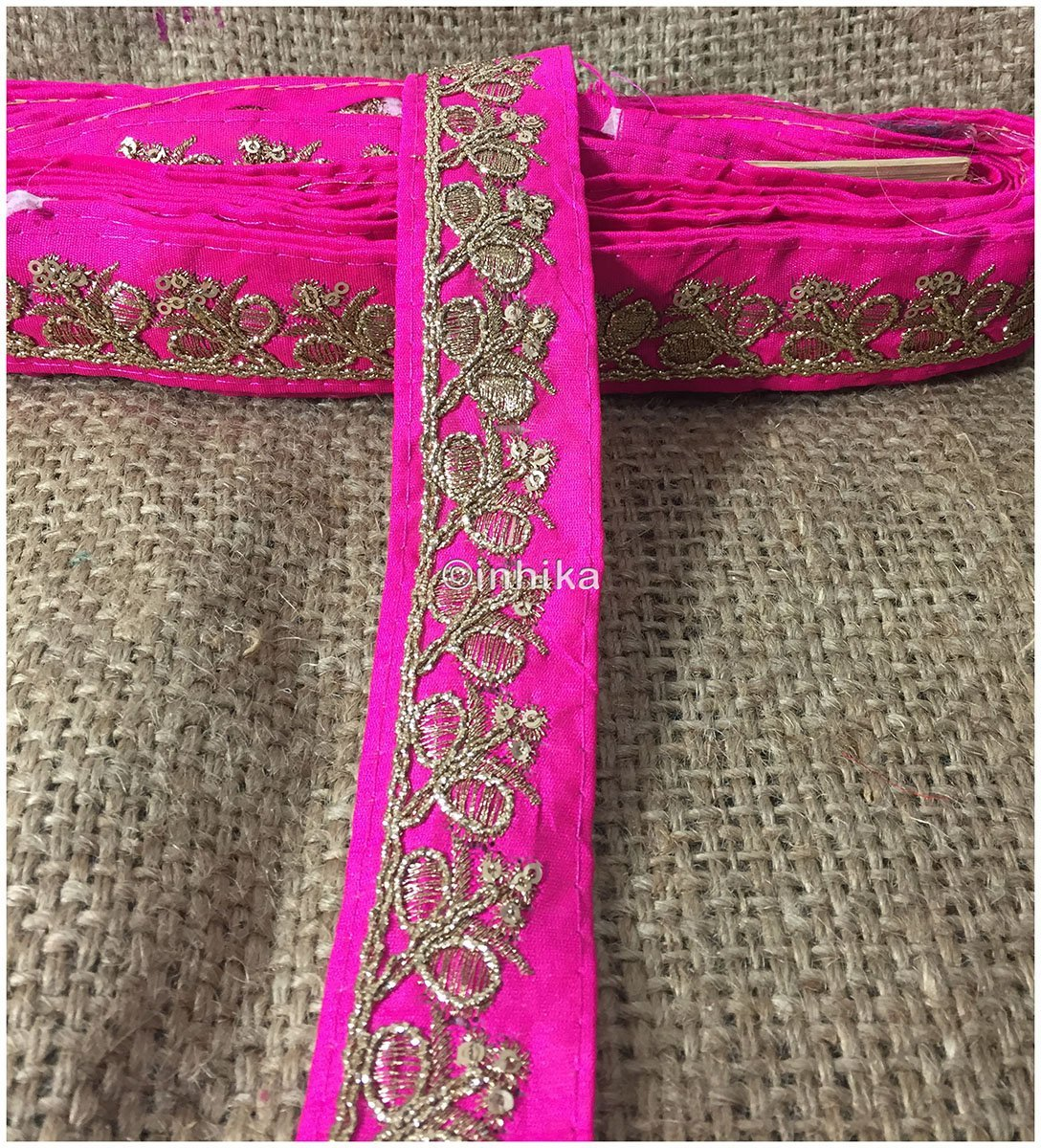 lace trim fabric embroidered lace fabric for wedding dresses india online Rani-Pink-Embroidery-Sequins-2-Inch-Wide-3285