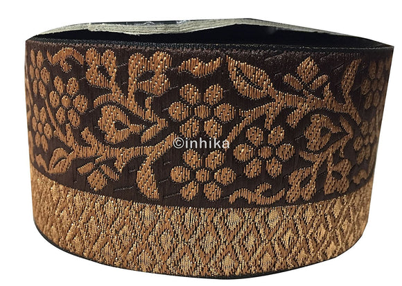 lace trim fabric lace material for dressmaking by the yard Dark-Brown-Zari-3-Inch-Wide-3232