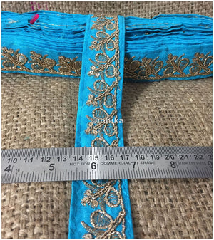 lace trim fabric trims in fashion Blue-Embroidery-Sequins-2-Inch-Wide-3287