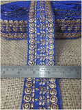 lace trim fabric fancy saree border lace for sale Royal-Blue-Embroidery-3-Inch-Wide-3289