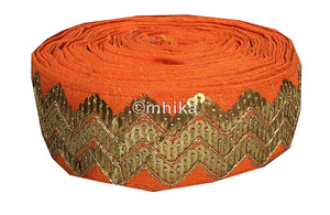 lace trim fabric bridal applique trim beaded lace  Orange, Embroidery, Sequins, 3 Inch Wide material Cotton Mix, Dupion