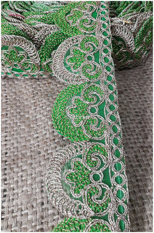 Image of lace trim fabric sewing trims and embellishments for clothing Green-Embroidery-2-Inch-Wide-3256