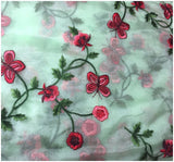 running fabrics online india blouse fabric online shopping india Embroidery Organza / Tissue Green, Red, Pink, Maroon 43 inches Wide 9167