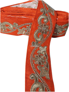 lace trim fabric online saree lace border patterns design with price Orange, Embroidery, Sequins, 3 Inch Wide material Cotton Mix