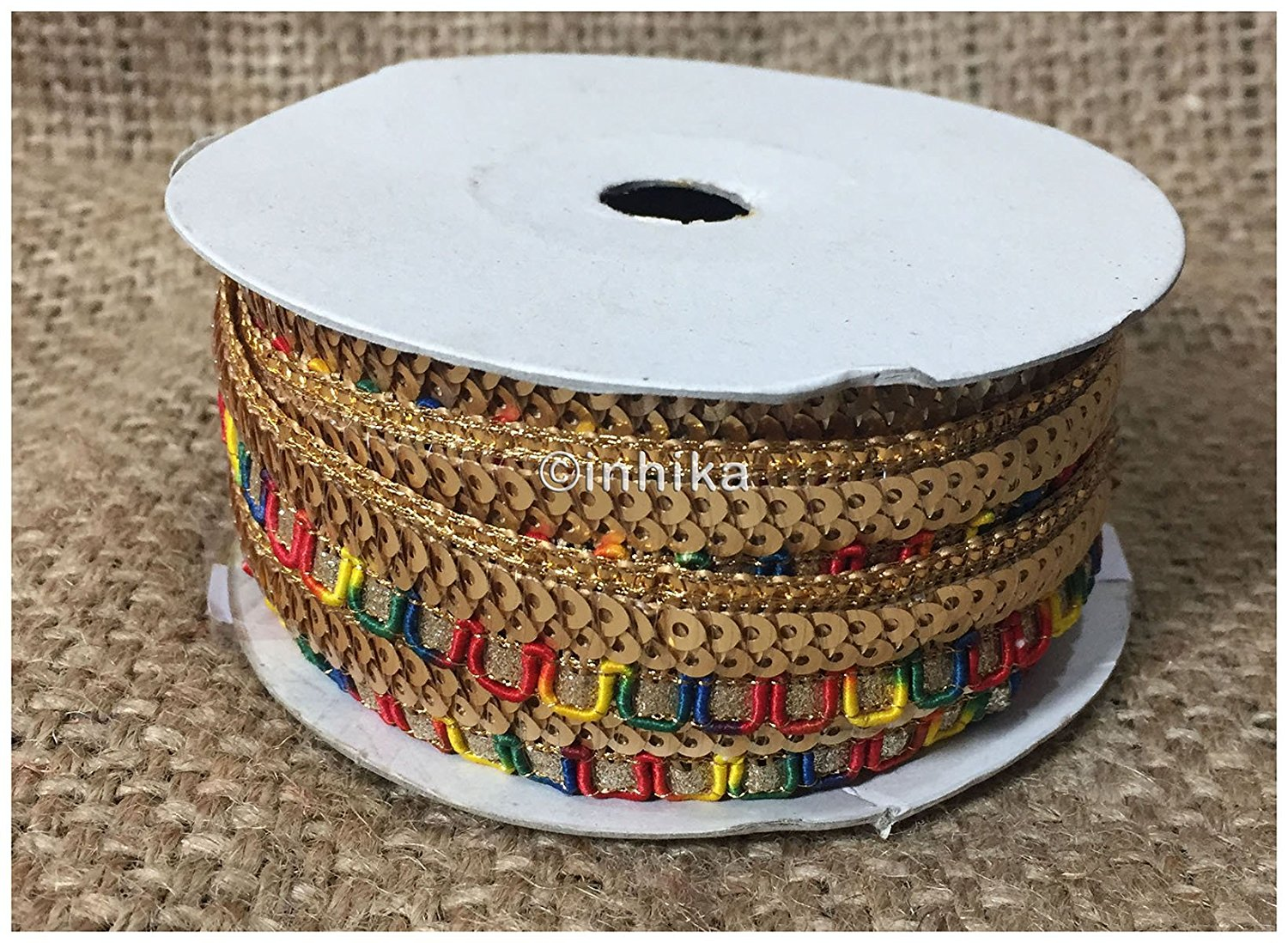 lace trim fabric decorative fabric trim ribbon for clothing Multicolour, Embroidery, Sequins, 1 Inch Wide material Cotton Mix