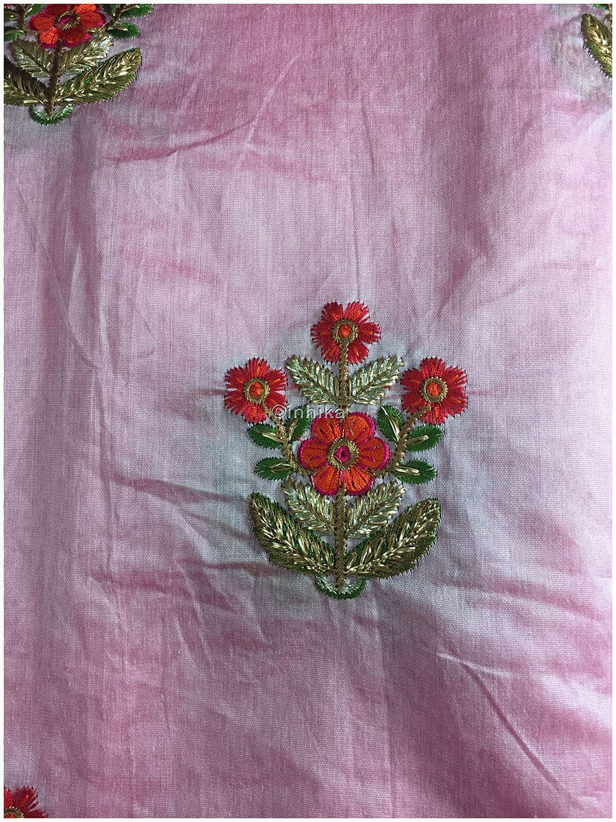 buy embroidery materials online lace material online india Embroidery Cotton Chanderi Baby Pink, Red, Orange, Green, Gold, Pink 42 inches Wide 9186